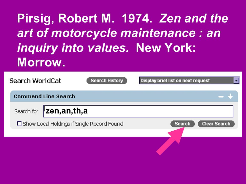 Pirsig, Robert M. 1974. Zen and the art of motorcycle maintenance : an inquiry into values.