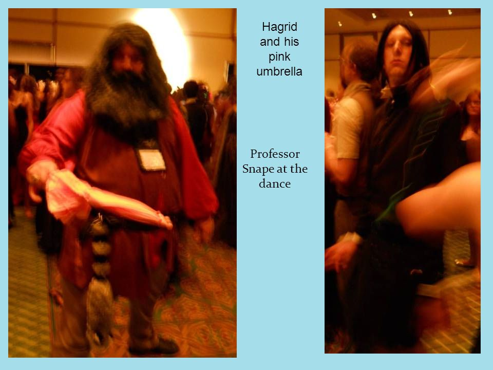 Professor Snape at the dance Hagrid and his pink umbrella