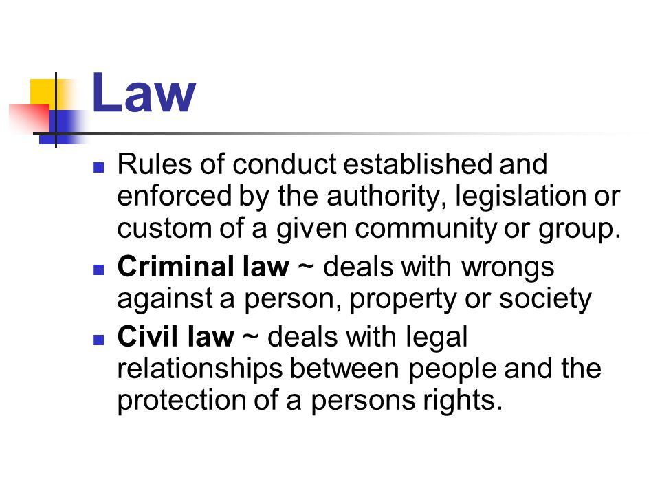 Law Rules of conduct established and enforced by the authority, legislation or custom of a given community or group.