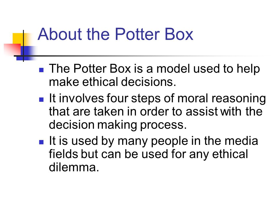About the Potter Box The Potter Box is a model used to help make ethical decisions.
