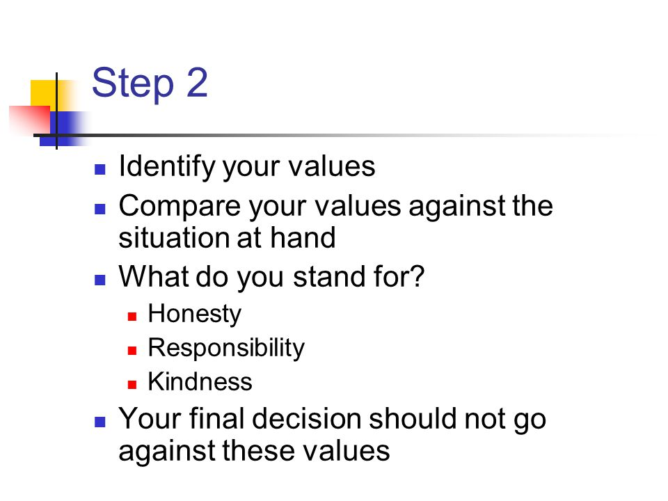 Step 2 Identify your values Compare your values against the situation at hand What do you stand for? Honesty Responsibility Kindness Your final decisi