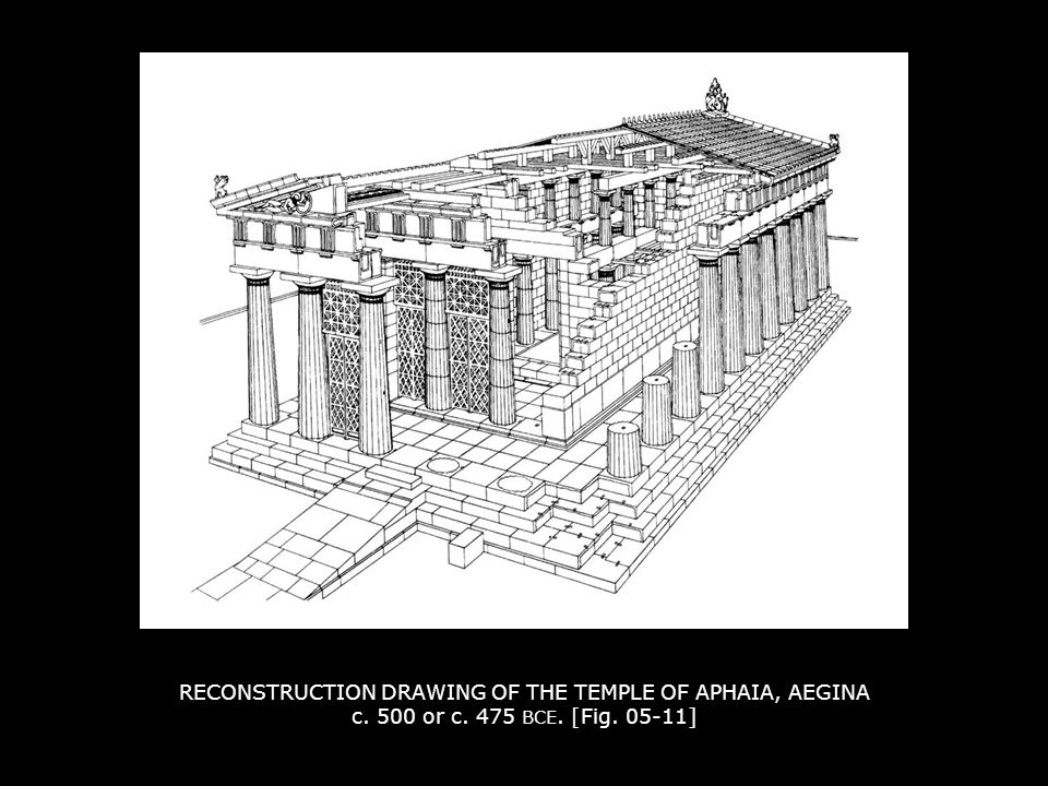 RECONSTRUCTION DRAWING OF THE TEMPLE OF APHAIA, AEGINA c. 500 or c. 475 BCE. [Fig. 05-11]