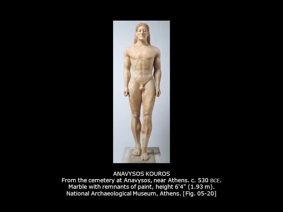 ANAVYSOS KOUROS From the cemetery at Anavysos, near Athens. c. 530 BCE. Marble with remnants of paint, height 6'4