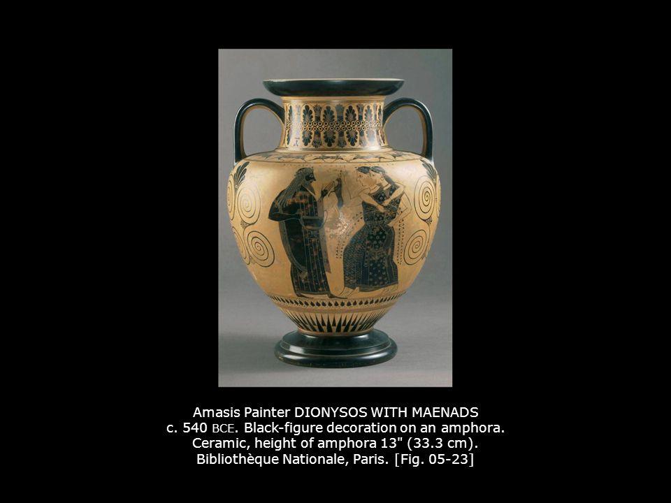 Amasis Painter DIONYSOS WITH MAENADS c. 540 BCE. Black-figure decoration on an amphora. Ceramic, height of amphora 13