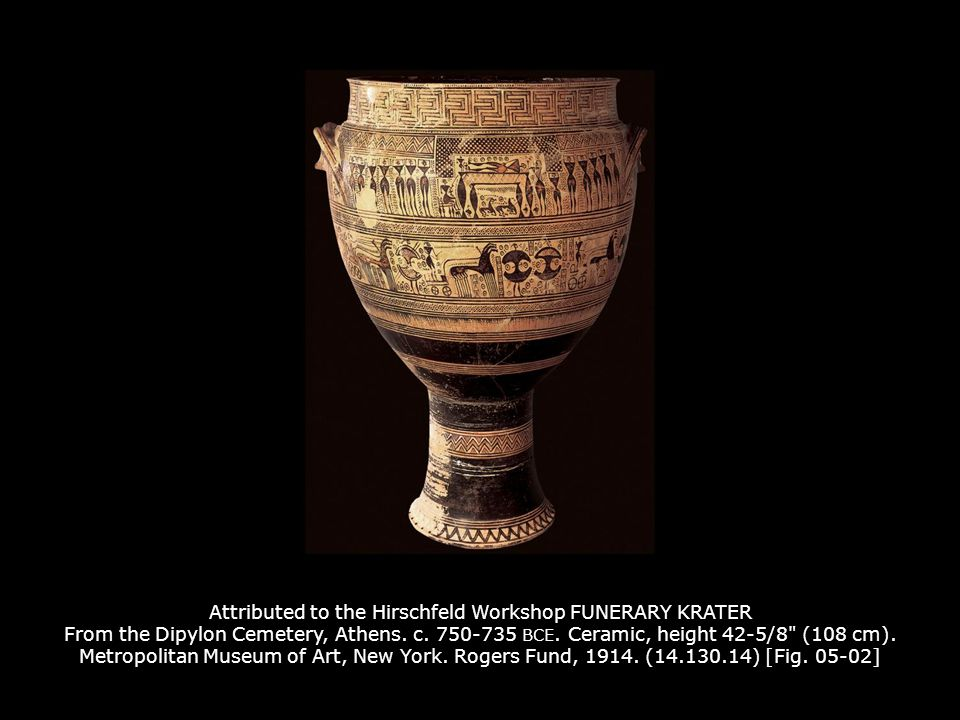 Attributed to the Hirschfeld Workshop FUNERARY KRATER From the Dipylon Cemetery, Athens.