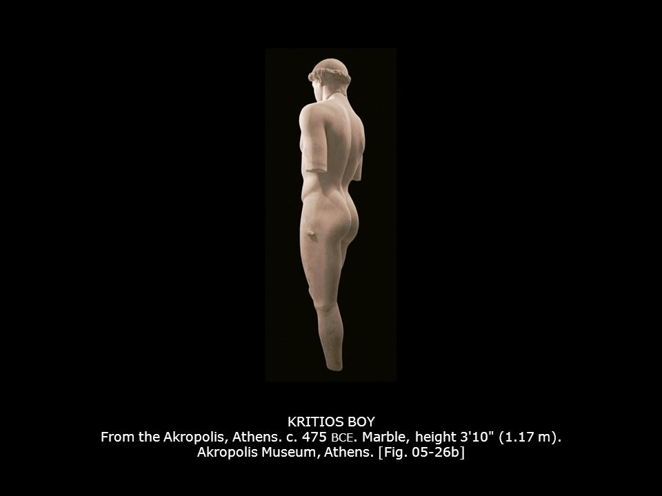 KRITIOS BOY From the Akropolis, Athens. c. 475 BCE. Marble, height 3'10