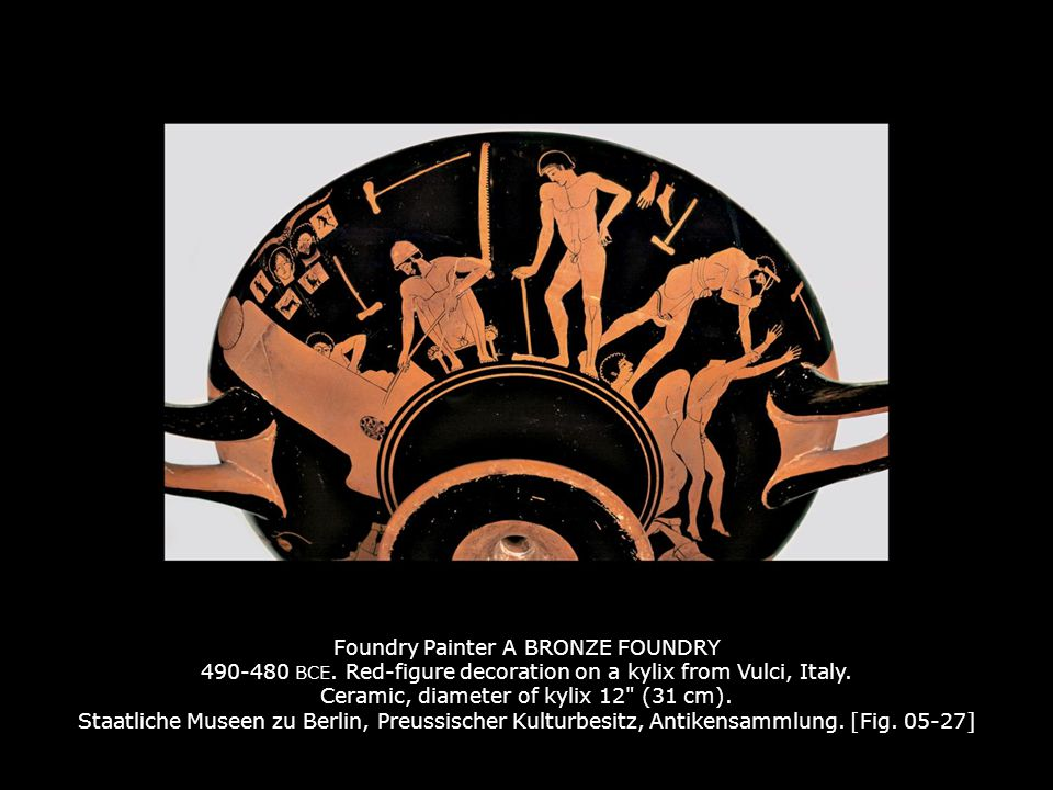 Foundry Painter A BRONZE FOUNDRY 490-480 BCE. Red-figure decoration on a kylix from Vulci, Italy. Ceramic, diameter of kylix 12