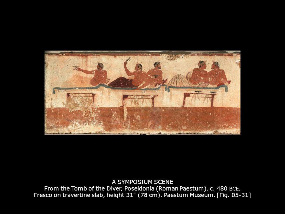 A SYMPOSIUM SCENE From the Tomb of the Diver, Poseidonia (Roman Paestum). c. 480 BCE. Fresco on travertine slab, height 31
