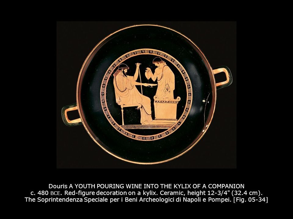 Douris A YOUTH POURING WINE INTO THE KYLIX OF A COMPANION c. 480 BCE. Red-figure decoration on a kylix. Ceramic, height 12-3/4
