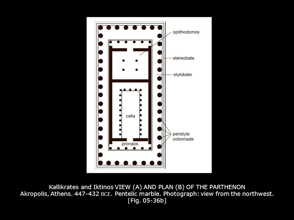 Kallikrates and Iktinos VIEW (A) AND PLAN (B) OF THE PARTHENON Akropolis, Athens. 447-432 BCE. Pentelic marble. Photograph: view from the northwest. [