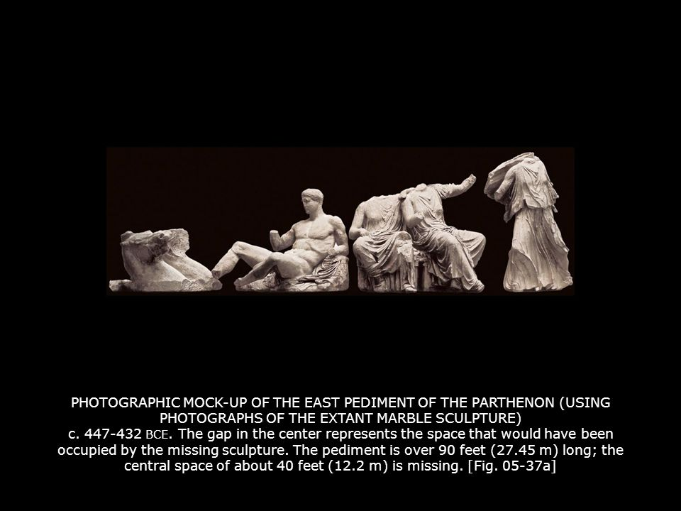 PHOTOGRAPHIC MOCK-UP OF THE EAST PEDIMENT OF THE PARTHENON (USING PHOTOGRAPHS OF THE EXTANT MARBLE SCULPTURE) c. 447-432 BCE. The gap in the center re