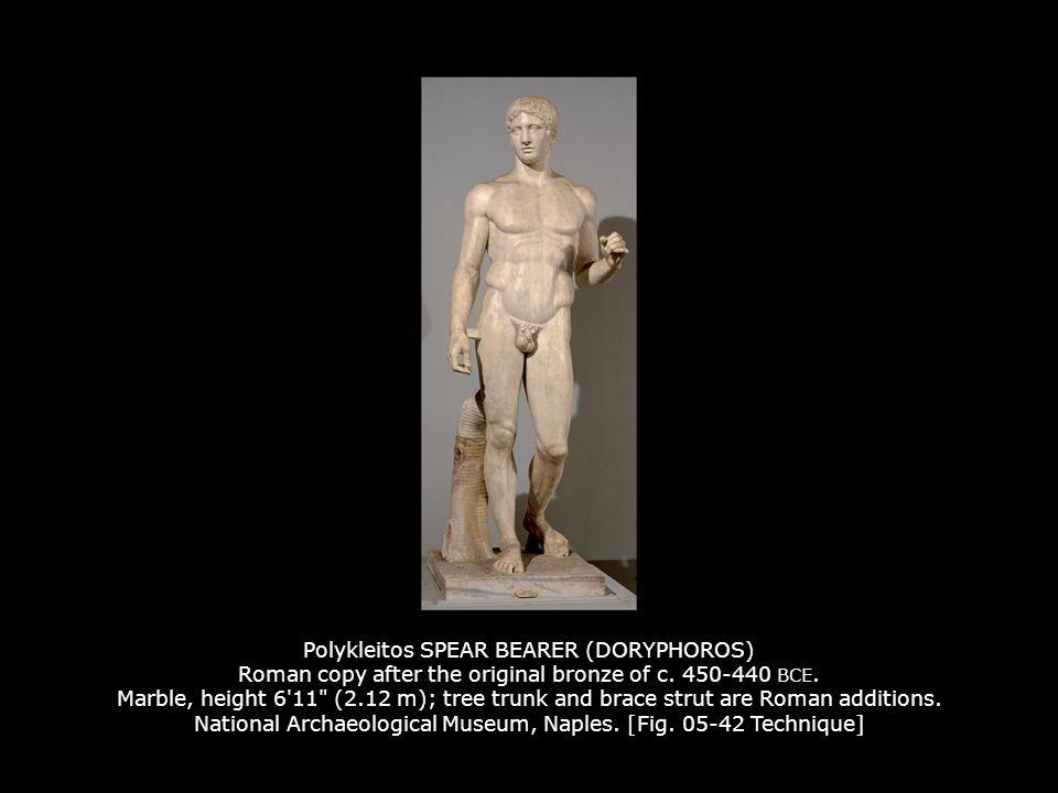 Polykleitos SPEAR BEARER (DORYPHOROS) Roman copy after the original bronze of c. 450-440 BCE. Marble, height 6'11