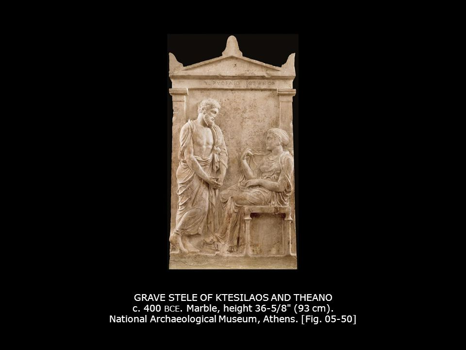 GRAVE STELE OF KTESILAOS AND THEANO c.400 BCE. Marble, height 36-5/8 (93 cm).