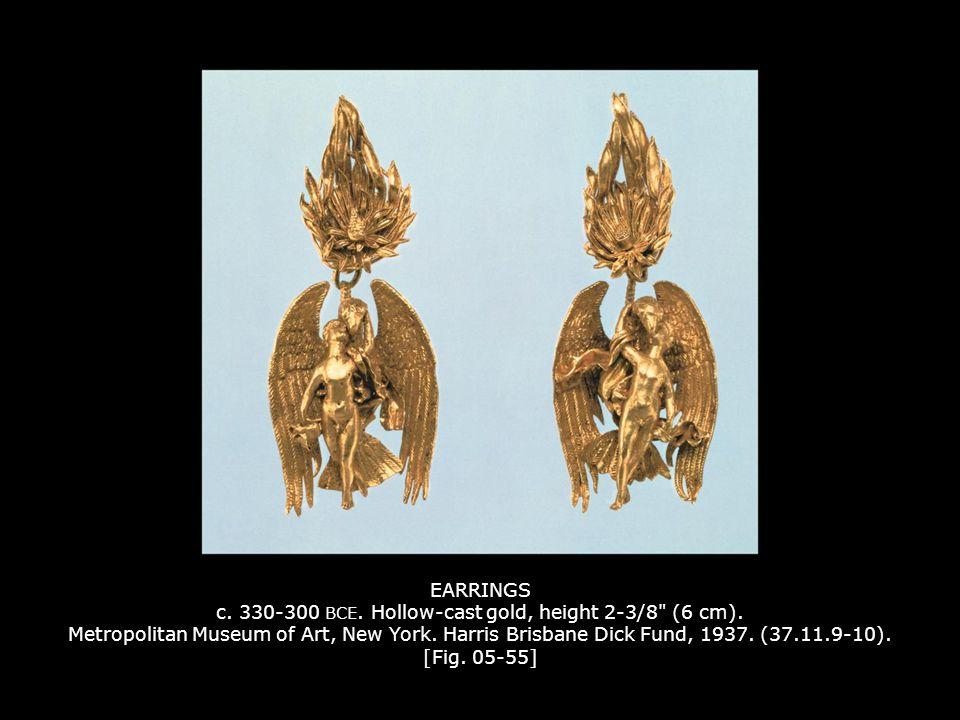 EARRINGS c. 330-300 BCE. Hollow-cast gold, height 2-3/8
