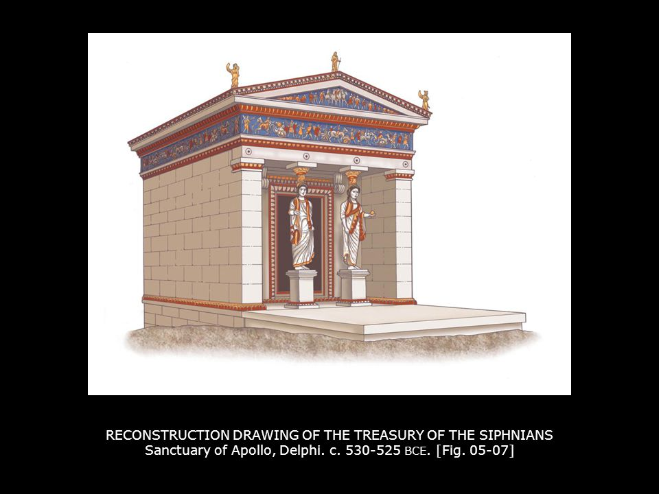 RECONSTRUCTION DRAWING OF THE TREASURY OF THE SIPHNIANS Sanctuary of Apollo, Delphi.