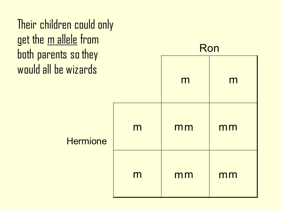 What wizarding alleles would Ron and Hermione's children have .