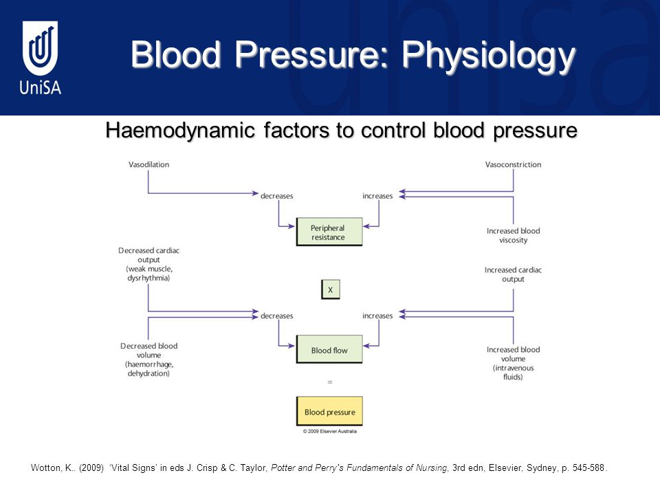 Blood Pressure: Physiology Haemodynamic factors to control blood pressure © 2009 Elsevier Australia12 Wotton, K..