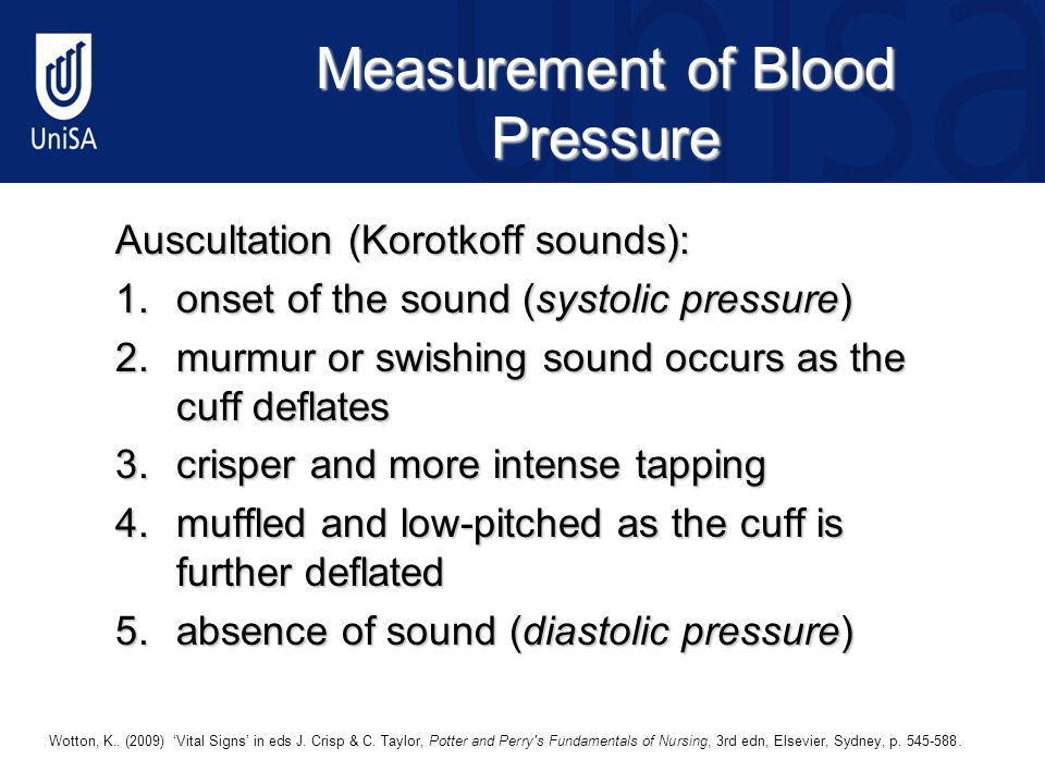 Measurement of Blood Pressure Auscultation (Korotkoff sounds): 1.onset of the sound (systolic pressure) 2.murmur or swishing sound occurs as the cuff deflates 3.crisper and more intense tapping 4.muffled and low-pitched as the cuff is further deflated 5.absence of sound (diastolic pressure) © 2009 Elsevier Australia19 Wotton, K..