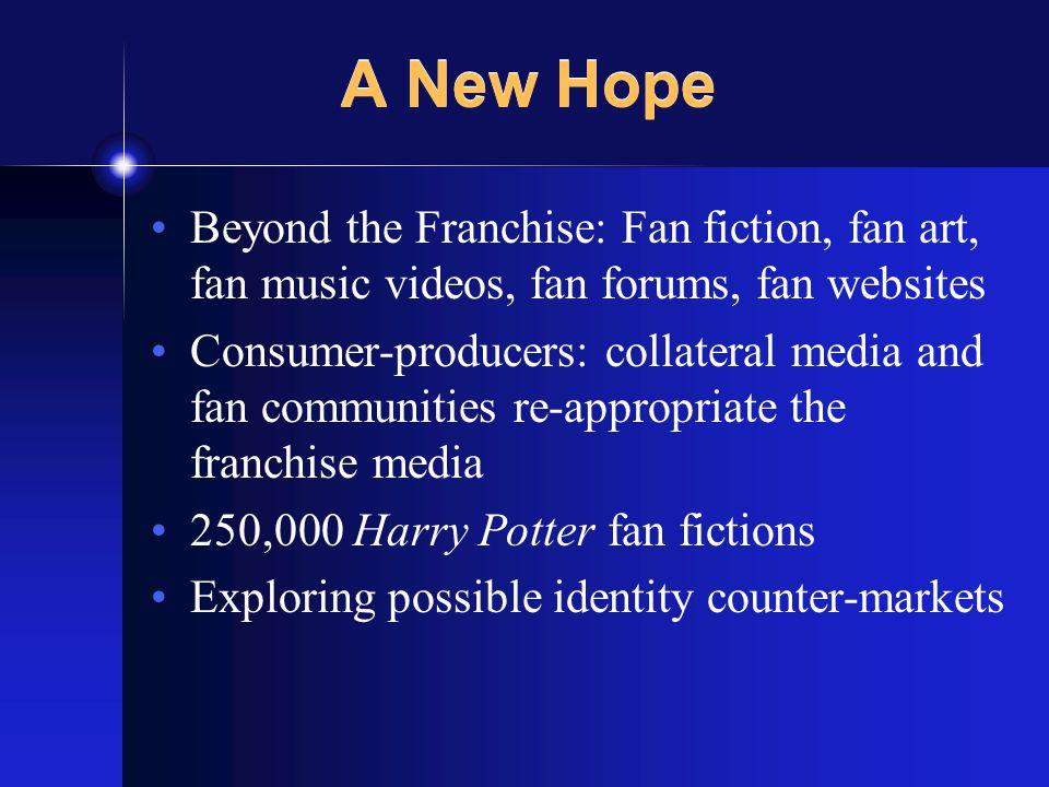 A New Hope Beyond the Franchise: Fan fiction, fan art, fan music videos, fan forums, fan websites Consumer-producers: collateral media and fan communities re-appropriate the franchise media 250,000 Harry Potter fan fictions Exploring possible identity counter-markets