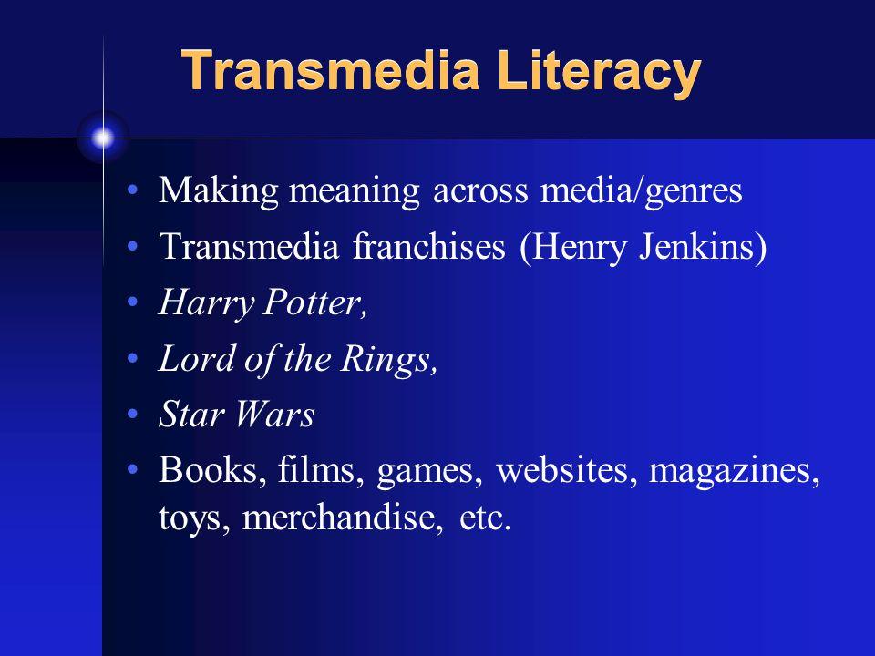 Transmedia Literacy Making meaning across media/genres Transmedia franchises (Henry Jenkins) Harry Potter, Lord of the Rings, Star Wars Books, films, games, websites, magazines, toys, merchandise, etc.