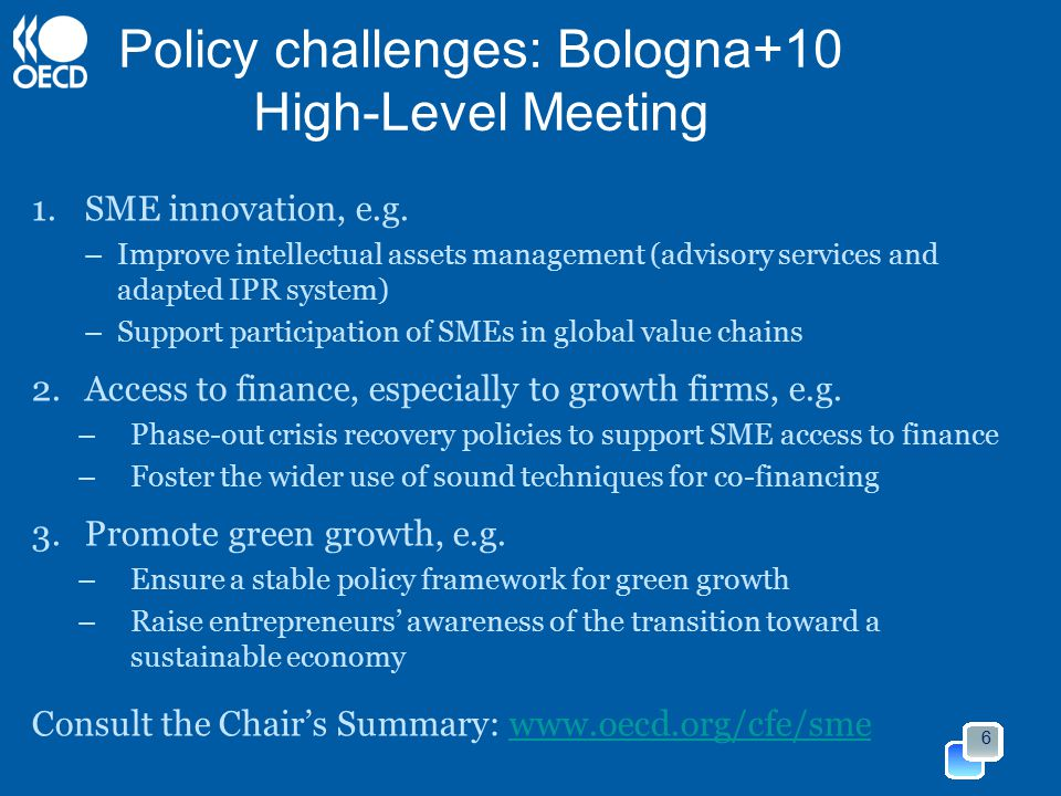 Policy challenges: Bologna+10 High-Level Meeting 1.SME innovation, e.g.