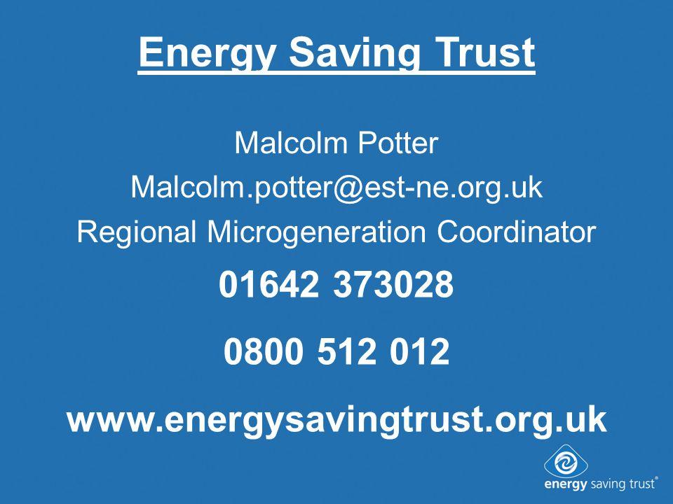 Energy Saving Trust Malcolm Potter Malcolm.potter@est-ne.org.uk Regional Microgeneration Coordinator 01642 373028 0800 512 012 www.energysavingtrust.org.uk