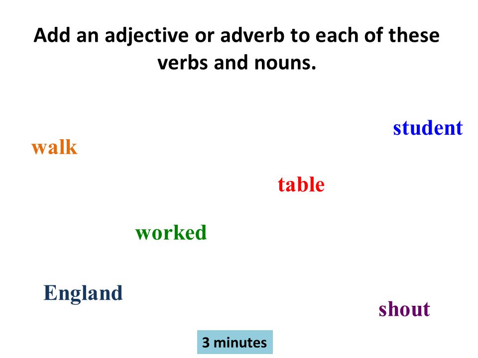 Add an adjective or adverb to each of these verbs and nouns.