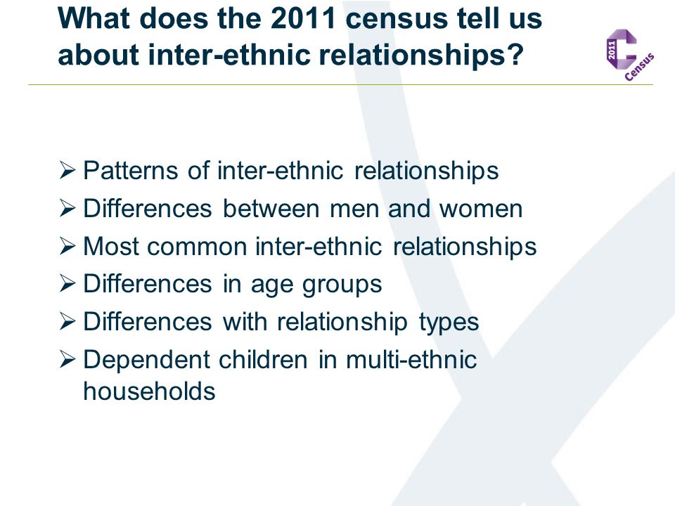 What does the 2011 census tell us about inter-ethnic relationships?  Patterns of inter-ethnic relationships  Differences between men and women  Mos
