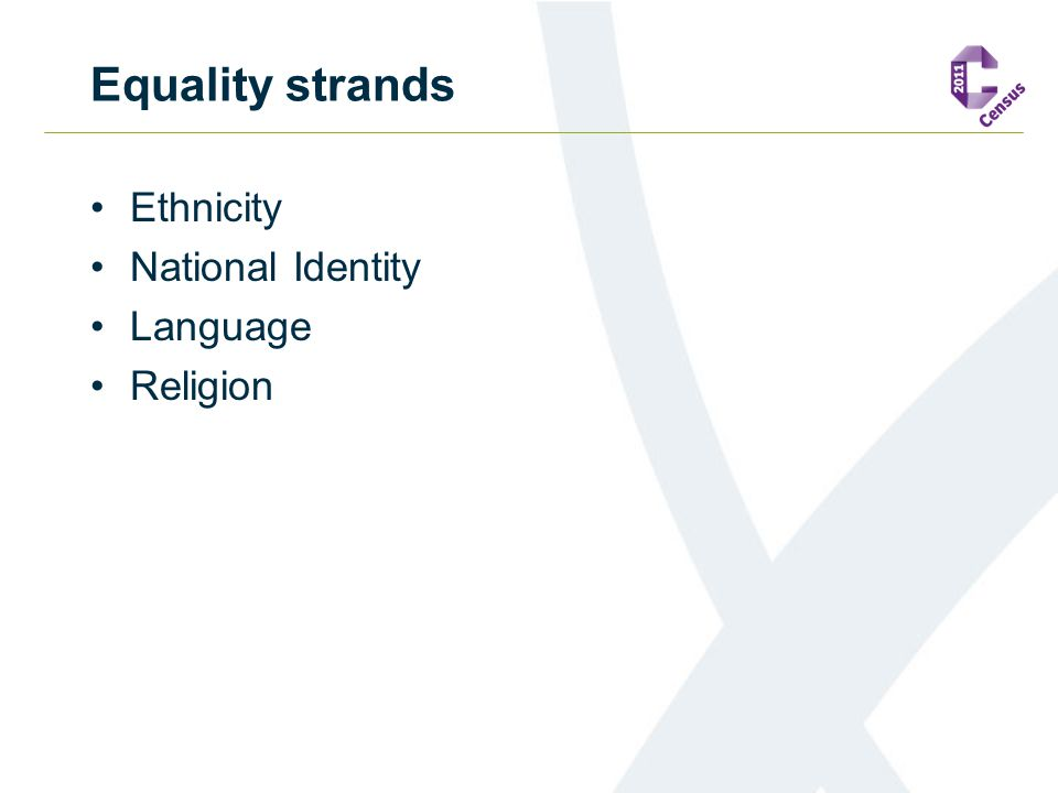 Equality strands Ethnicity National Identity Language Religion