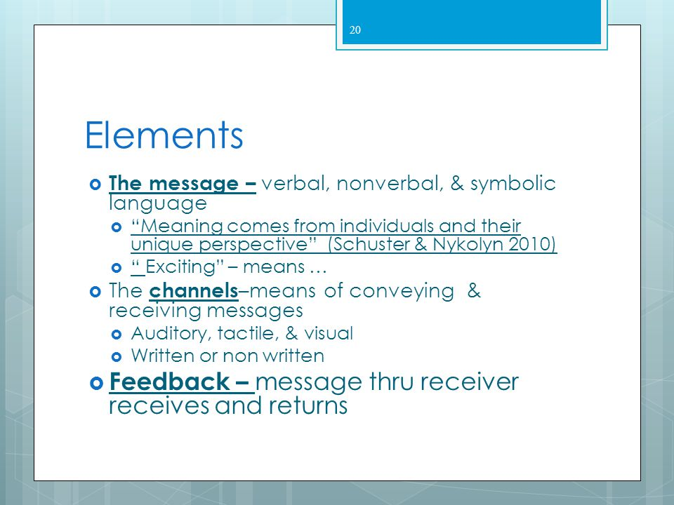 19 II. Elements of Communication  The referent – motivation  The sender – encodes & sends message  Includes feelings  Ensures accuracy  The recei