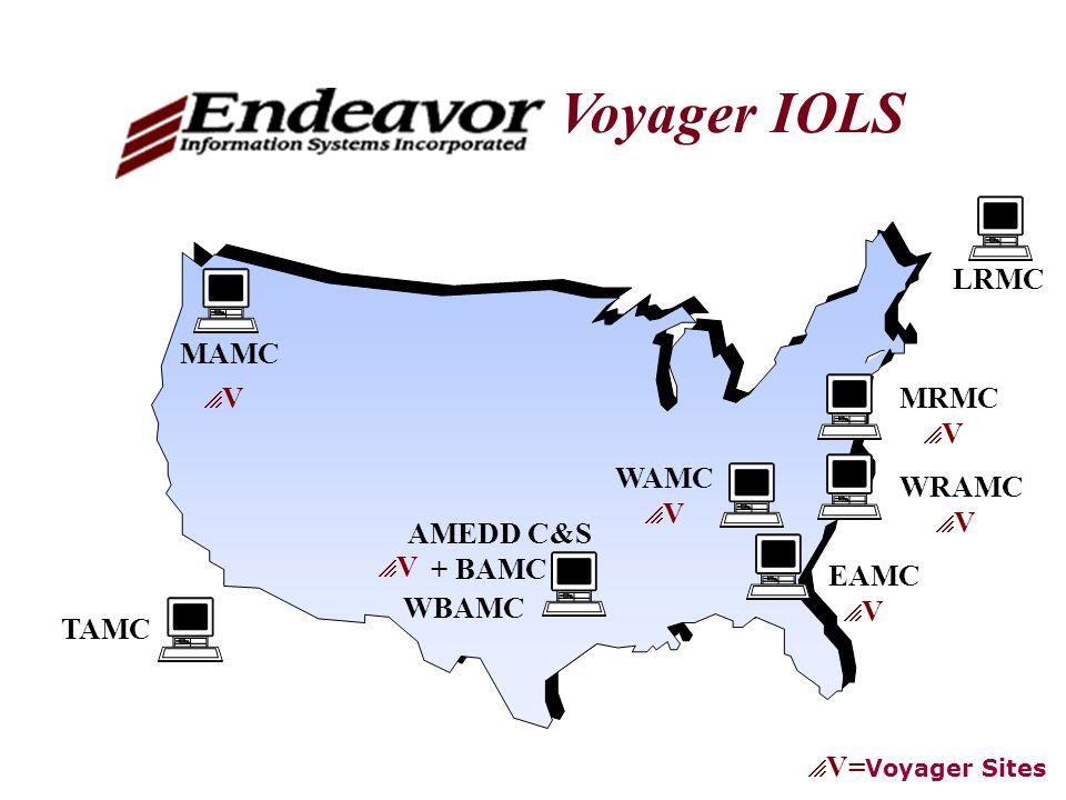 TAMC AMEDD C&S + BAMC WRAMC  V LRMC Voyager IOLS EAMC MAMC WAMC  V= Voyager Sites V V VV VV V V WBAMC MRMC  V