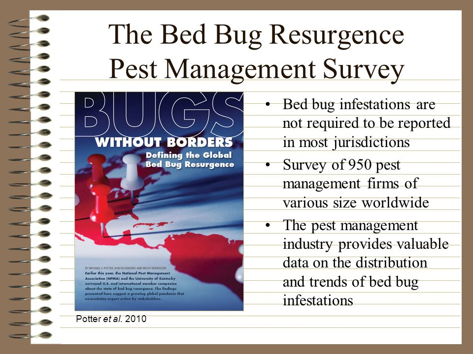 Frequency of Bed Bug Infestations Worldwide Potter et al. 2010