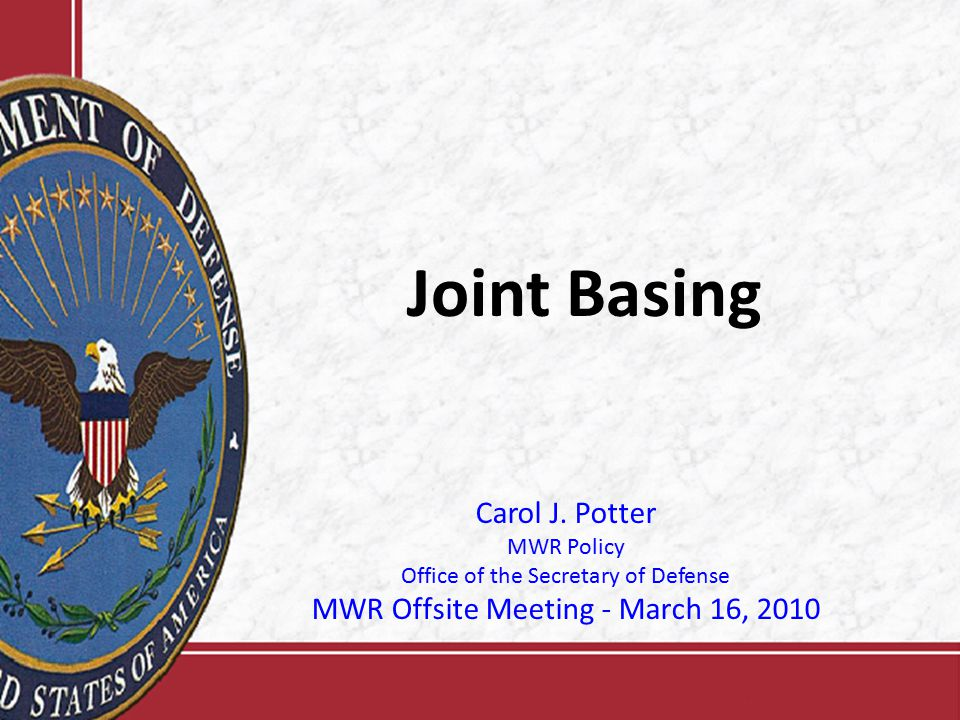 2 Agenda Joint Basing Update Cost and Performance Visibility Framework (CPVF) Update Issue resolution process – Joint Management Oversight Structure (JMOS) Discussion
