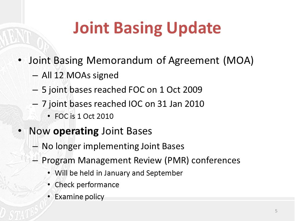 CPVF Update Cost and Performance Visibility Framework (CPVF) – Baseline for funding and manpower – Quarterly reporting – PB-14 is a functional transfer document CPVF FY 2010 Quarter 1 Data Review – Measures MWR and Lodging Joint Basing standards – First report from five Joint Bases since post FOC – Both the Supported and Supporting Component measure standards performance – Measurements are meets, does not meet, and comment 6