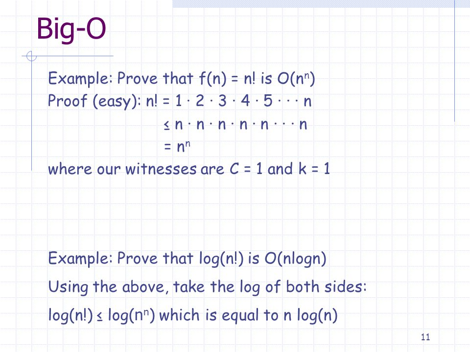 11 Big-O Example: Prove that f(n) = n. is O(n n ) Proof (easy): n.