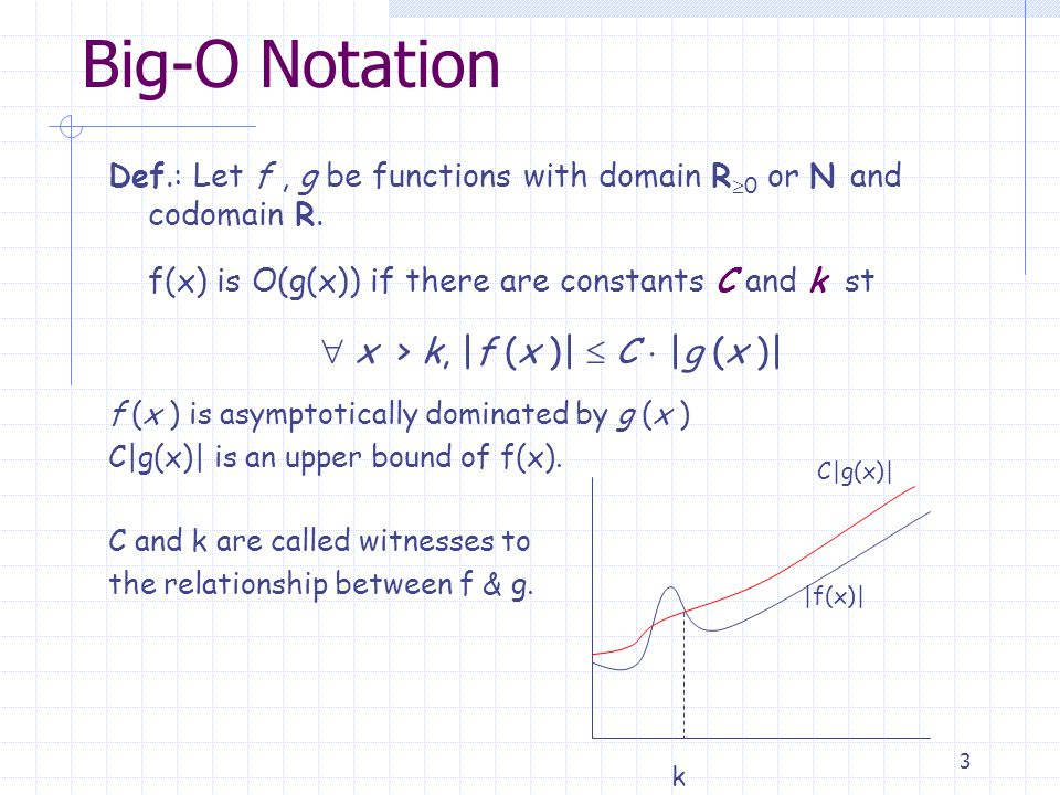 4 Big-O Notation To prove that a function f(x) is O(g(x)) Find values for k and C, not necessarily the smallest one, larger values also work!.