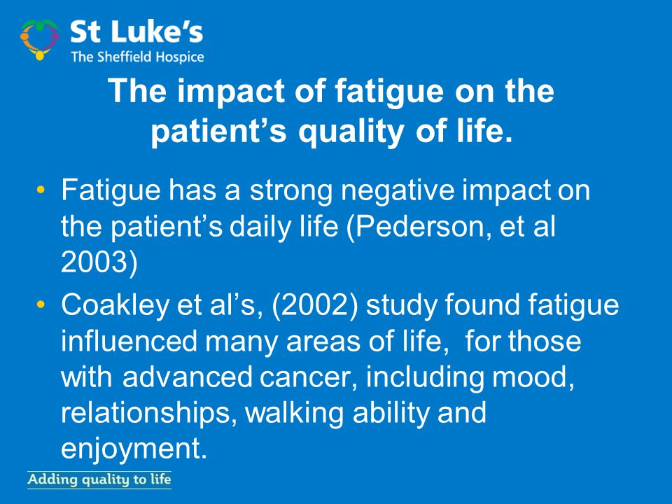 The impact of fatigue on the patient's quality of life.