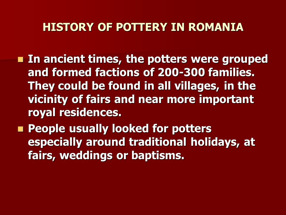 CENTRES OF CERAMICS IN ROMANIA CERAMICS FROM VAMA What is predominant for the Ceramics from Vama is the use of green, yellow and brown, the motifs being mainly geometrical (lines, circles, spirals) and floral.