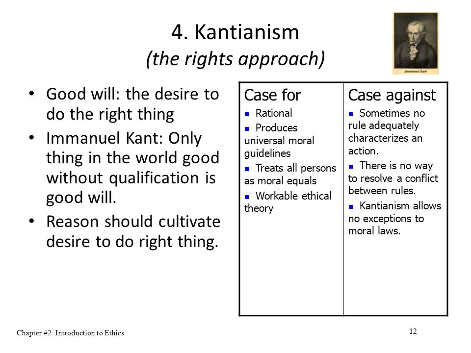 Chapter #2: Introduction to Ethics 12 4. Kantianism (the rights approach) Good will: the desire to do the right thing Immanuel Kant: Only thing in the