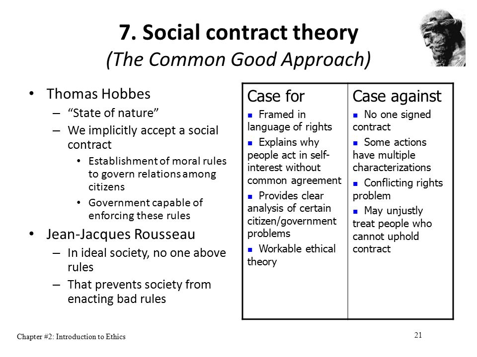 """Chapter #2: Introduction to Ethics 21 7. Social contract theory (The Common Good Approach) Thomas Hobbes – """"State of nature"""" – We implicitly accept a"""
