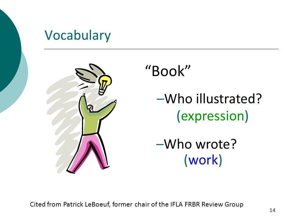 14 Vocabulary Book –Who illustrated. (expression) –Who wrote.