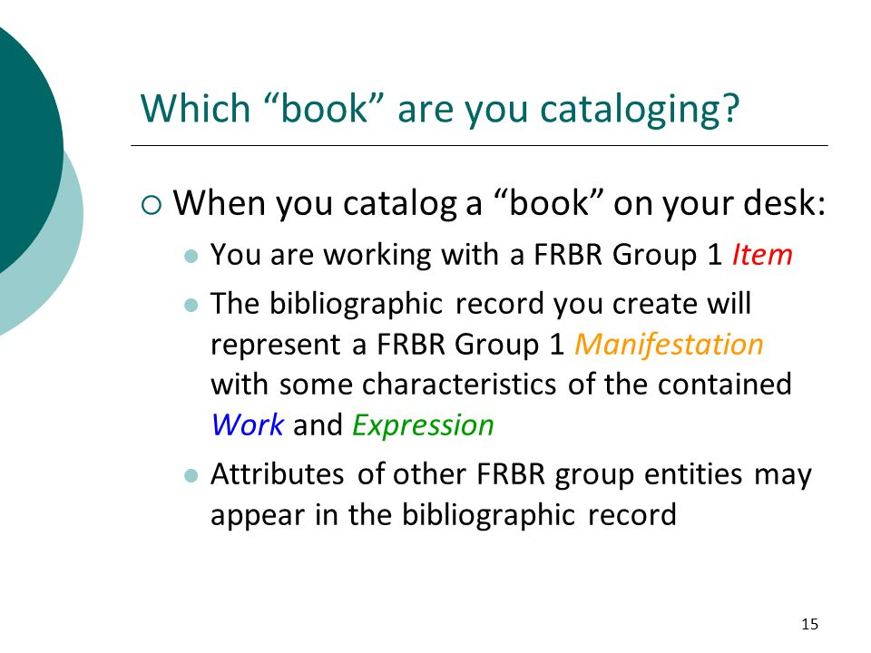 15 Which book are you cataloging.