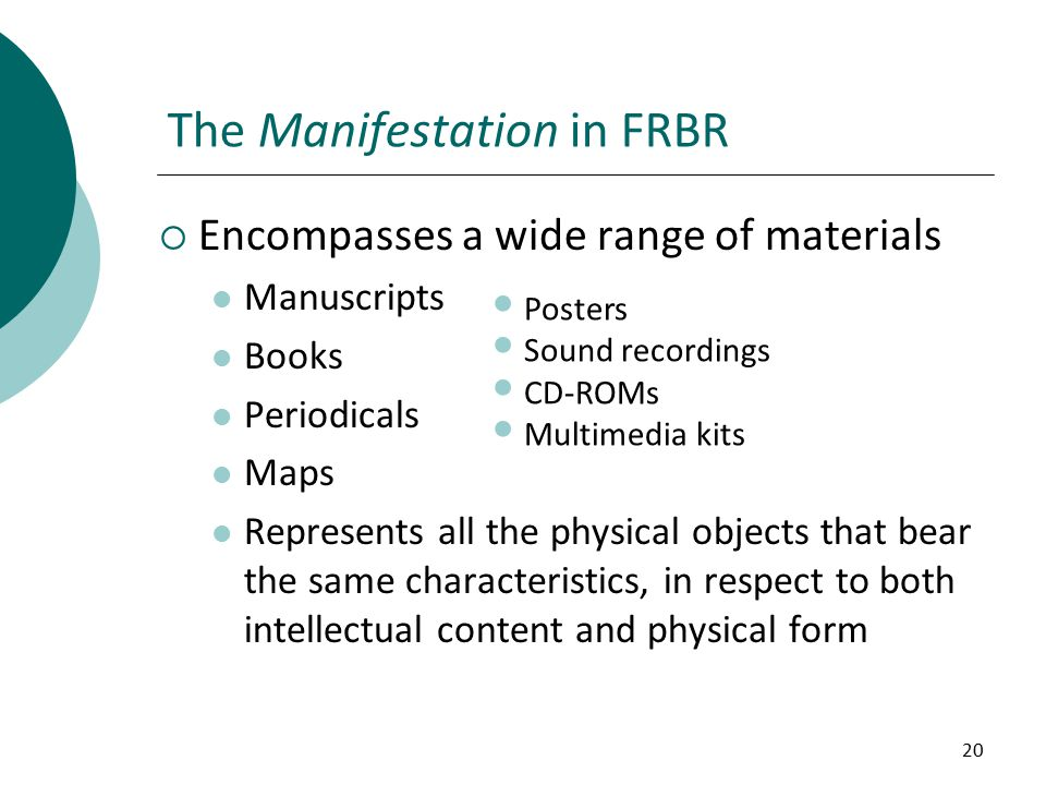 20  Encompasses a wide range of materials Manuscripts Books Periodicals Maps Represents all the physical objects that bear the same characteristics, in respect to both intellectual content and physical form The Manifestation in FRBR Posters Sound recordings CD-ROMs Multimedia kits