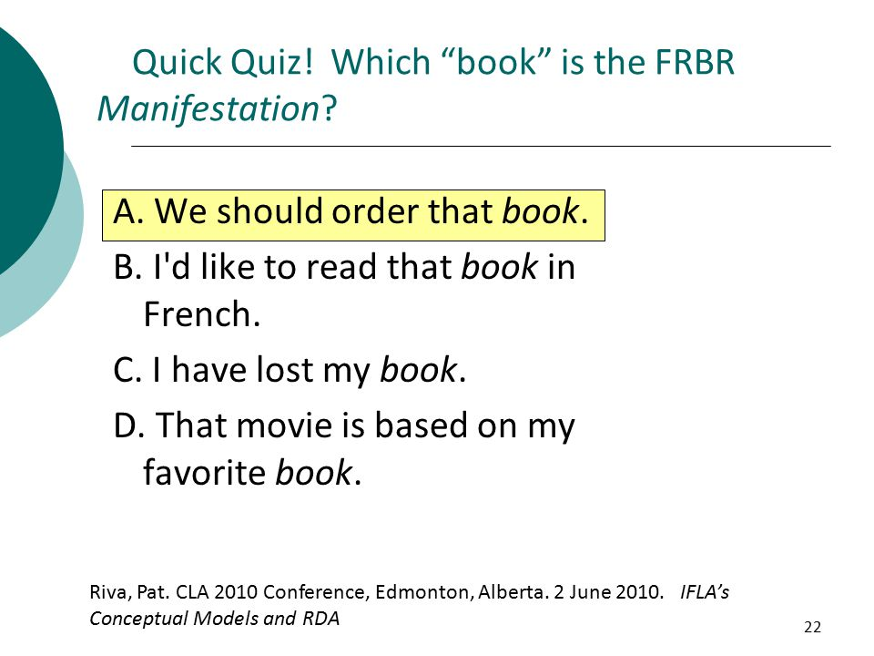 22 Quick Quiz!Which book is the FRBR Manifestation.