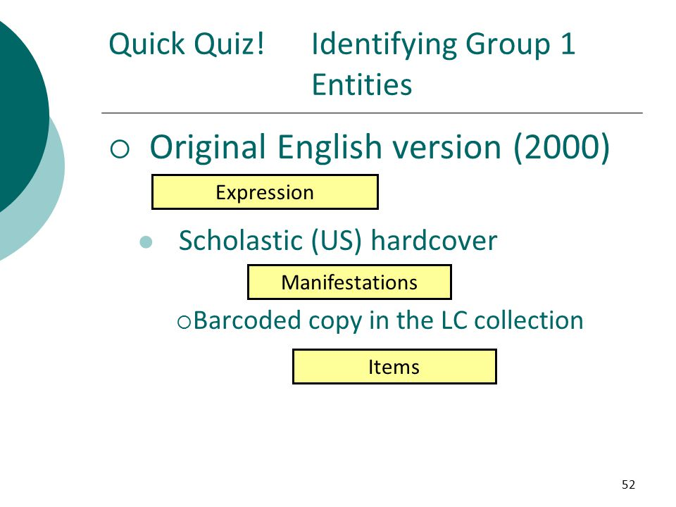 52  Original English version (2000) Scholastic (US) hardcover  Barcoded copy in the LC collection Quick Quiz!Identifying Group 1 Entities Expression Manifestations Items