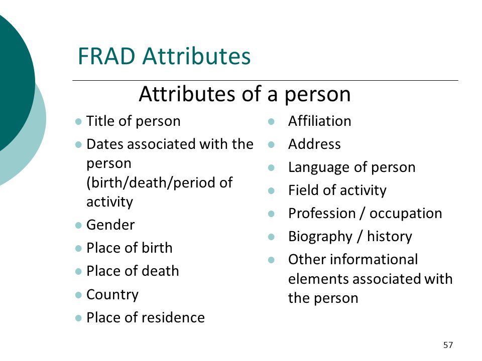 57 FRAD Attributes Title of person Dates associated with the person (birth/death/period of activity Gender Place of birth Place of death Country Place of residence Affiliation Address Language of person Field of activity Profession / occupation Biography / history Other informational elements associated with the person Attributes of a person