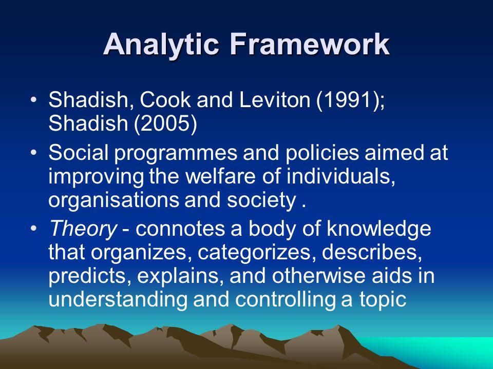 Analytic Framework Shadish, Cook and Leviton (1991); Shadish (2005) Social programmes and policies aimed at improving the welfare of individuals, organisations and society.