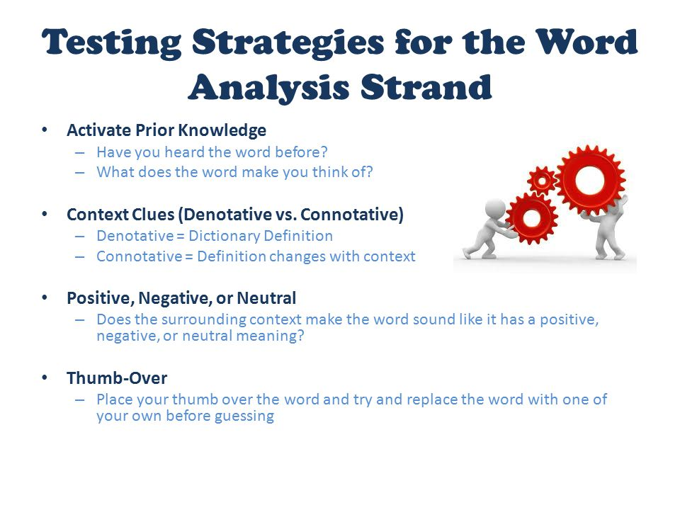 Testing Strategies for the Word Analysis Strand Activate Prior Knowledge – Have you heard the word before? – What does the word make you think of? Con