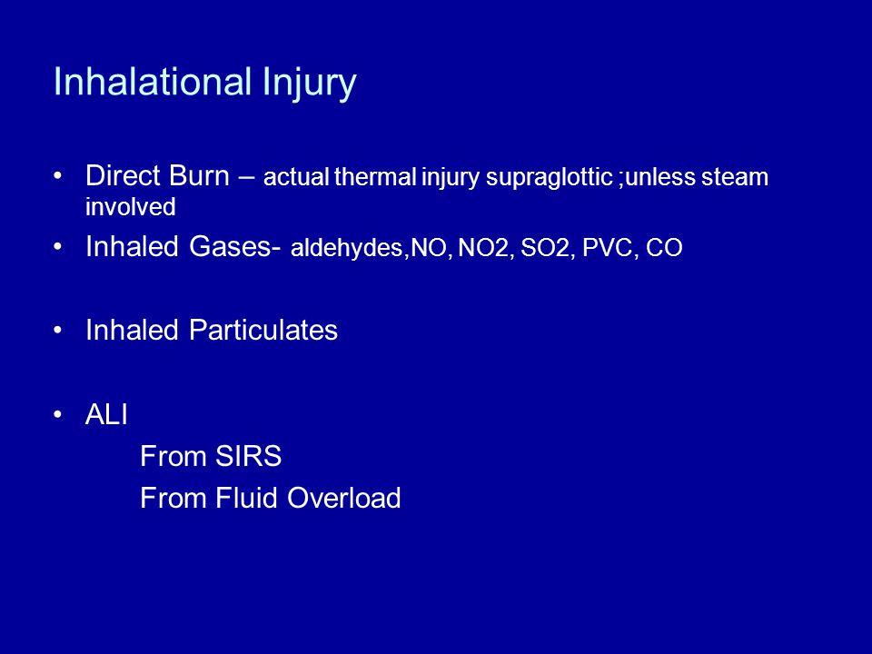 Inhalational Injury Direct Burn – actual thermal injury supraglottic ;unless steam involved Inhaled Gases- aldehydes,NO, NO2, SO2, PVC, CO Inhaled Par