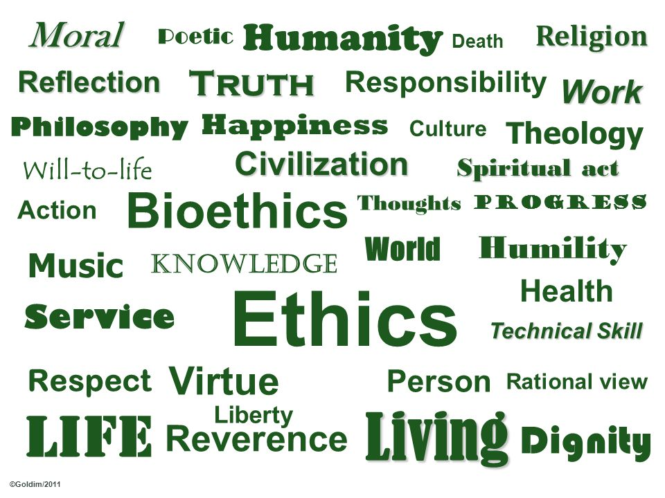 Virtue Ethics Dignity LifeLiving Reverence Respect Person Humanity Health Liberty Service Bioethics Music Theology Philosophy Action World Knowledge Thoughts Rational view Reflection Culture Will-to-life Civilization Work Humility Responsibility Happiness Moral Religion Truth Progress Technical Skill Poetic Death Spiritual act ©Goldim/2011